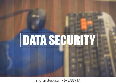 data security with blurring business office background