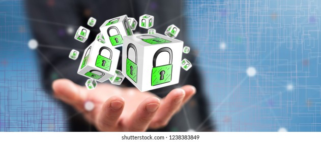 Data security concept above the hand of a man in background