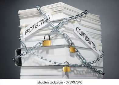 Data security. Protected documents. Confidential information. Locked pile of documents and folder. Gray background.
