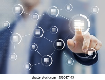 Data and server networks concept with a person touching a digital interface with icons linked together to symbolize transfer of information