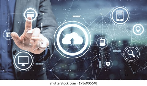 Data storage concept with businessman pushes button on touch screen with cloud service icons. Double exposure