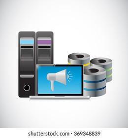 data storage megaphone illustration design graphic over white