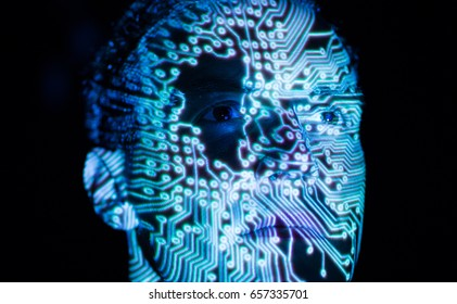 data transfer in brain symbolized by a circuit board in face of a man