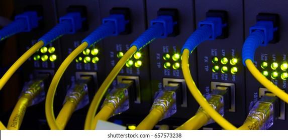 Data transfer by optical fibre gigabit ethernet information technology.