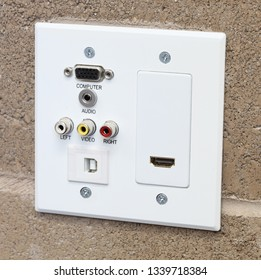 Data wall outlet and cover plate for VGA monitor, audio, video, HDMI, and USB