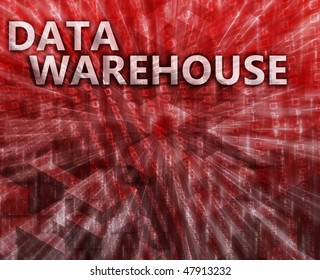 Data warehouse abstract, computer technology concept illustration