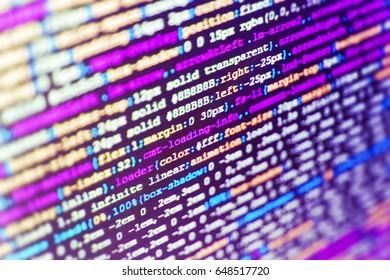 Database bits access stream visualisation. SEO optimization. Source code close-up. PC software creation business. Digital binary data on computer screen. Programming of Internet website.