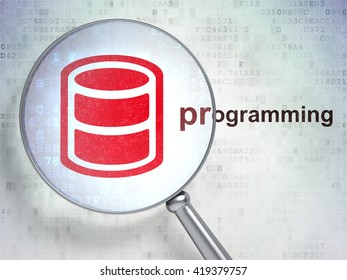 Database concept: magnifying optical glass with Database icon and Programming word on digital background, 3D rendering