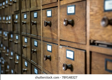 database concept. vintage cabinet. library card or file