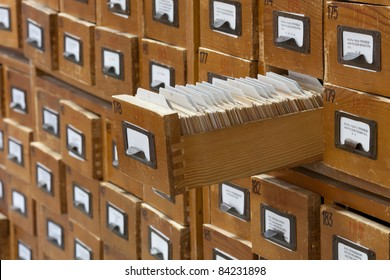 database concept. vintage cabinet. library card or file catalog.