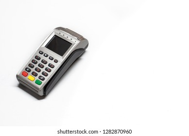 Dataphone, card reader to charge purchases, isolating on white background.