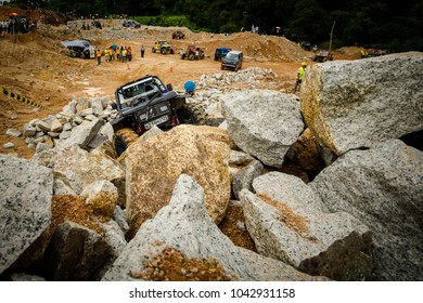 DATARAN KUANTAN, MALAYSIA - NOVEMBER 26, 2017: Rainforest Challenge Global Series Finals. Rock and jungle stages of the offroad race