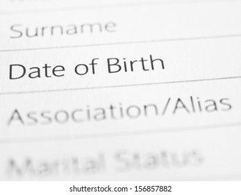 DATE OF BIRTH close up on a printed form