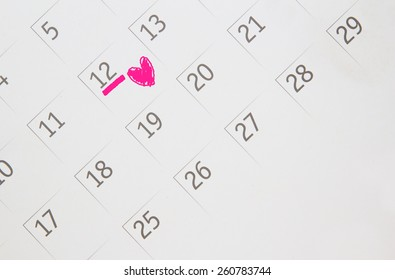 Date of calendar with Heart of the anniversary.