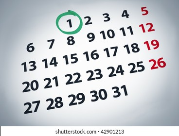 A date circled on a 1st day of a calendar with green ink.