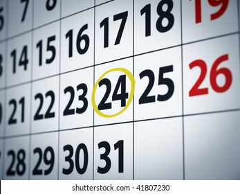 A date circled on a calendar with yellow ink.
