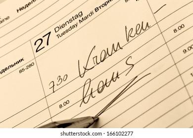 a date is entered on a calendar: hospital