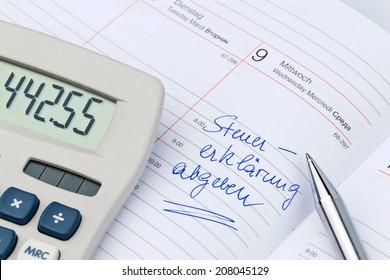 a date is entered on a calendar: tax return