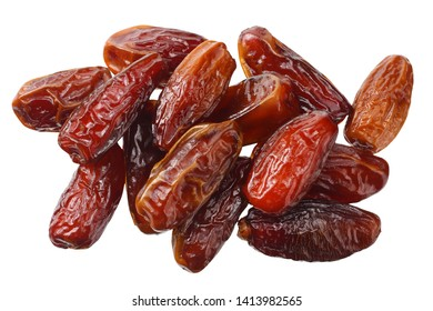 date fruit isolated on white background. top view