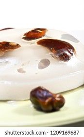 Date fruit jelly dessert. Vertical closeup shot