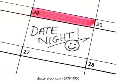 A Date Night Highlighted on a Calendar.