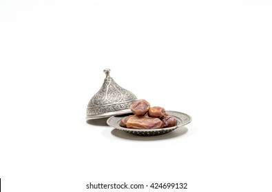 date palm fruits or kurma, ramadan on white background
