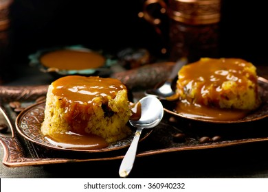 date pudding with caramel. selective focus