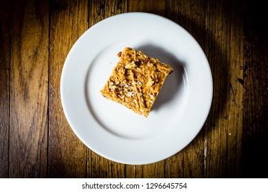 Date and walnut flapjack cake