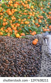 Dates and mandarin orange that selling at the fez market.
