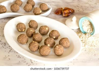 Dates ragi oats laddu is healthier version of finger millet laddu which is good for health.