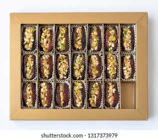 Dates stuffed with pistachios in a box