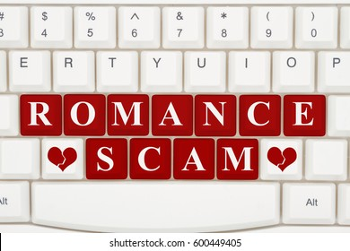 Dating scams on the internet, A close-up of a keyboard with red highlighted text Romance Scam 3D Illustration