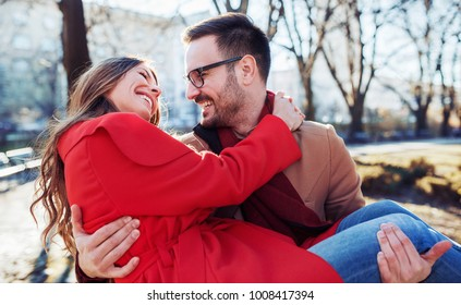 Dating. Young couple at the meeting. Romantic couple enjoying in moments of happiness. Concept of  love and romance