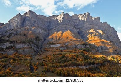 Daubenhorn mountain above the Swiss town of Leukerbad, Wallis, canton of Valais, Switzerland. Beautiful alpine landscape in autumn.