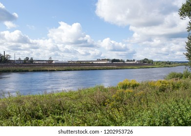 Daugava river landscape in Daugavpils in September, Latvian nature