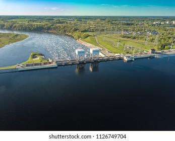 Daugava river, plavinas. Hydroelectric power station in Latvia.