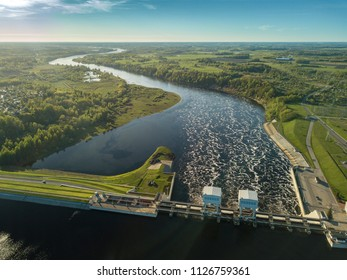 Daugava river, plavinas. Hydroelectric power station in Latvia.