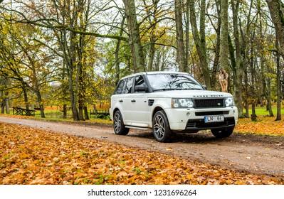 Daugavpils, Latvia - 11.16.2018: Range Rover Sport HSE in Autumn Park