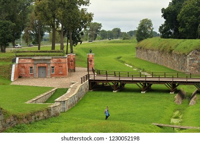 Daugavpils, Latvia, 2018: Beautiful green Daugavpils fortress on east Latvia near to the Russian border in summer
