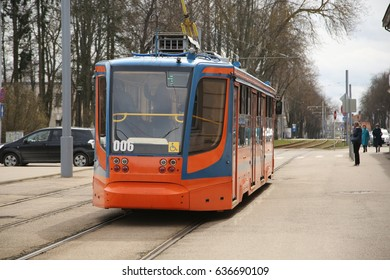 DAUGAVPILS, LATVIA - April 26, 2017: Tram car in Daugavpils
