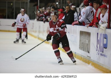 DAUGAVPILS, LATVIA - April 7, 2017: Ice Hockey Challenge Latvia - Belorussia 1:0. The game moment of a hockey game