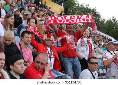 DAUGAVPILS, LATVIA - AUGUST, 17:  Latvian FIM Speedway grand prix. Emotional fans from Poland on tribune