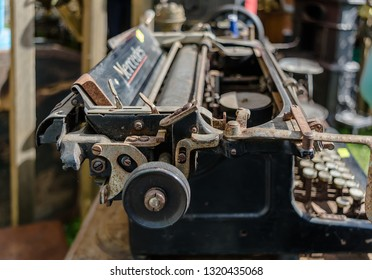 Daugavpils, Latvia - July 15 2017: Old rusty vintage Mercedes typewriter closeup shot in flea market. Manufactured by Mercedes Buromaschinen-Werke and had no connection with famous car manufacturer.