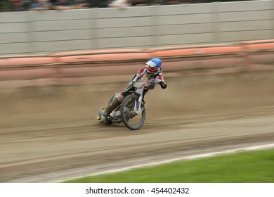 DAUGAVPILS, LATVIA - July 17, 2016. Speedway riders on the track. Semifinal of Team Speedway Junior European Championship. participants - Latvia, Denmark, Czech, Norway.
