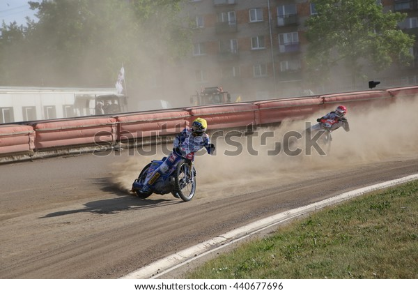 DAUGAVPILS, LATVIA - June 5, 2016: Speedway riders on the track in match of polish NICE league Lokomotiv - Orel 42:47