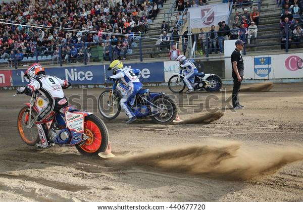 DAUGAVPILS, LATVIA - June 5, 2016: Speedway riders on the track in match of polish NICE league Lokomotiv - Orel 42:47