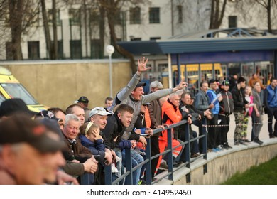 DAUGAVPILS, LATVIA - May 1, 2016. fans in the stands. Match of polish league NICE Lokomotiv - Stal  52:37