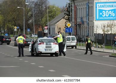 DAUGAVPILS, LATVIA - May 3, 2016: The police car blocked the road