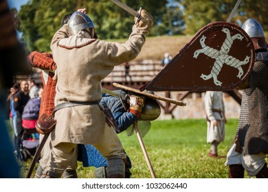 Daugavpils, Latvia - September 23, 2017 - Medieval reenactment  festival in Daugavpils fortress