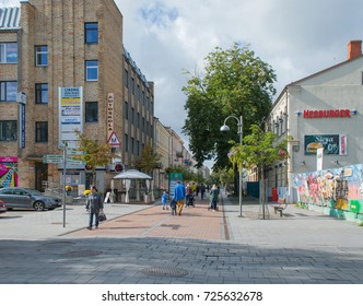 DAUGAVPILS, LATVIA - SEPTEMBER 8, 2017: Rigas street - main street of Daugavpils with historical buildings